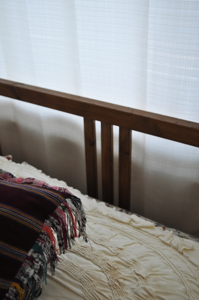 A Stained Fjellse Bed Frame on The Tufted Blog