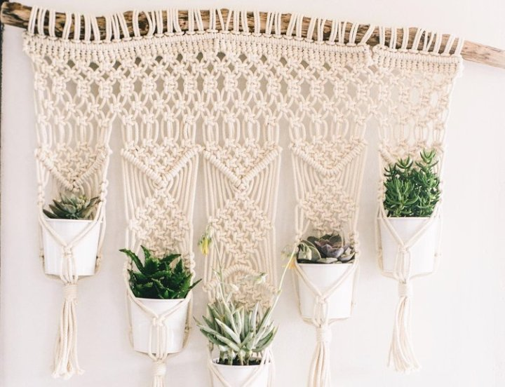 macrame hanging from a branch with pots filled with succulents